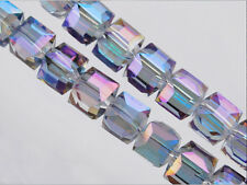 Bulk 30pcs Blue Colorized Glass Crystal Faceted Cube Beads 8mm Spacer Findings