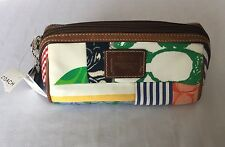 NWT COACH Multi-Color Signature Scribble Hamptons Make-Up Zippered Pouch RARE!