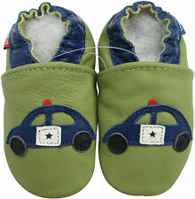 soft  leather baby shoes police car light green 0-6m