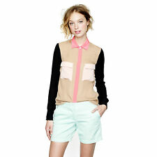 J CREW Collection sz 4 - 6 - 8  (or 0 ) womens silk Colorblock Blouse [#2691]