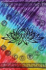 """Chakra Lotus Rainbow Tapestry 58 x 82"""" Wiccan Pagan Altar Supply WTCHAL"""