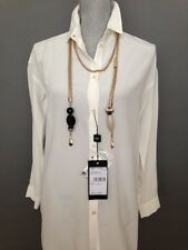 NWT Max Mara Weekend 100% Silk  White  Blouse-Tunic ,Size 2 , MSRP $335.00