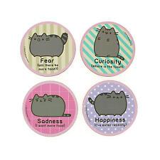 PUSHEEN 4 COASTER SET DRINKS MAT CAT EMOTIONS CARTOON KITTEN COMIC PETS OFFICIAL