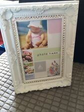 Crystal bling sparkly white shabby chic photo picture frame 6x4 wedding