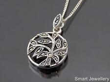 925 Sterling Silver Marcasite Round leaf design Pendant Necklace Jewellery