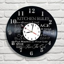 Kitchen rules design vinyl record wall clock home art bedroom shop office club