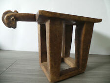 """11"""" TALL X 17"""" LONG HAND CARVED WOODEN STOOL DOGON TRIBE MALI AFRICA FACE 4 LEGS"""