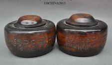 Rare Old China Huanghuali Wood Hand-Carved Play Chess Game Go Weiqi Box Jar Pair