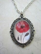 Handmade Vintage Look Silver Plated Red Poppy Cameo Necklace New in Gift Bag