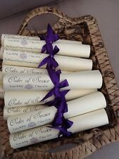 10 x Handmade Personalised Vintage Style Order of Service Day Ceremony Scrolls