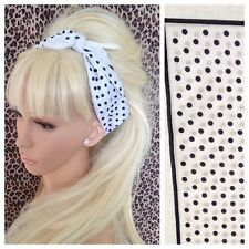 WHITE BLACK POLKA DOT PRINT COTTON BANDANA HEAD HAIR NECK SCARF 50s 60s RETRO