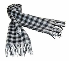 100% Pure Cashmere Premium Handmade Twill Men Neck Scarf Black Grey Plaid Check