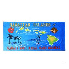Hawaii Beach Towel 100% Cotton Large 60x30 Blue Islands Map Dolphin Oahu Maui