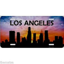 LOS ANGELES CITYSCAPE SUNSET SILHOUETTE SKYLINE METAL LICENSE PLATE MADE IN USA