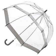 FULTON BUBBLE DOME BIRDCAGE UMBRELLA WITH SILVER TRIM NEW