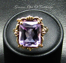 Ornate Vintage 9ct Gold Baguette Rose De France 6.7ct Amethyst Ring Size K 4.7g