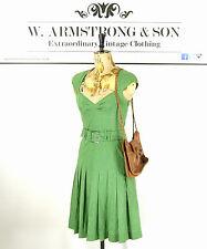 Women's Green Polka Dot KAREN MILLEN Belted TEA DRESS Sweetheart Neckline UK 8