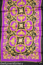 Versace Purple/Black/Gold Print Silk Shawl Scarf SCN3CFA9056 0004 25 x 80""
