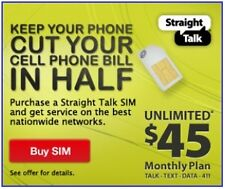 Straight Talk Micro Sim 4G/3G for T-Mobile Compatible & Unlocked GSM Phones
