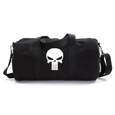 Black Canvas Shoulder Duffel Bag-Sports Duffle The Punisher Skull