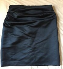 DRIES VAN NOTEN Sexy Navy Blue Ruched Satin Party Skirt Sz 40 US 6 Lined