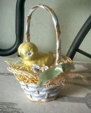 Handmade SHABBY Vintage STYLE Country EASTER FOLKART CERAMIC Chick in BASKET