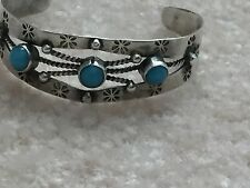 Vintage PLATA REAL 925 STERLING SILVER CHILD CUFF BRACELET 9.7gr MEXICO Turquois