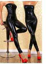 Black Low cut bodysuit, catsuit clubwear, PVC wet look 50 Shades fits 8/10/12...