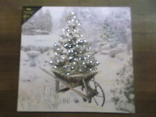 Battery Operated Lighted Canvas Print  Christmas Garden, Tree Wheelbarrow 18x17""