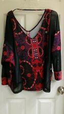 Apple Bottoms, Women's plus size 1X blouse, mesh, NWT $52 red, black, white