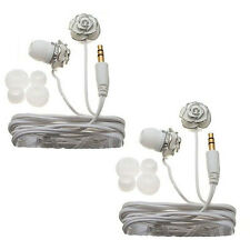 Nemo Digital White Enamel Flower Earbud Headphones (Case of 2)