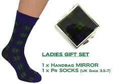 Ladies Tartan Socks & Handbag Mirror Inspired by Scotlands Black Watch design