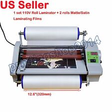 110V Hot Thermal Laminator Machine With Digital Control+2Rolls Matte/Satin Films