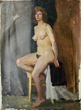 Russian Ukrainian Soviet Oil Painting female Portrait realism nude woman 1960s