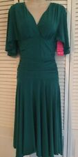 NIKI WIOR Womans Size S Slimming Lining Flared Sleeve Shirred Dress w/Bra Liner