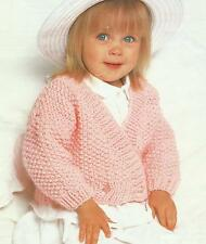 "Baby Girls Knitting Pattern Chunky Wrap Jacket 16-24""   Easy Knit 224"