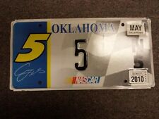 2010 Real OKLAHOMA Nascar License Plate #5 For Driver of Car #5 Casey Mears