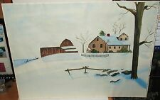 JUDY BOYLE WINTER SNOW LANDSCAPE BARN VINTAGE ORIGINAL WATERCOLOR PAINTING