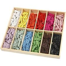 Mini Clothes 288 Pegs Colourful Wooden 12 Colours Decoration Card Making Boxed