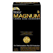 Trojan Magnum Lubricated Larger Size Condoms - 12 Pack