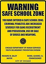 Warning Safe School Zone metal sign (fd)   REDUCED TO CLEAR------------------