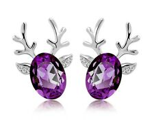 Luxury Deer Design Silver Dark Purple Stud Earrings Great as Christmas Gift E484