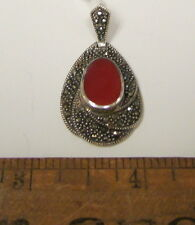 Sterling Silver Marcasite & Carnelian Signed A925 Thailand Pendant