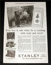1929 OLD MAGAZINE PRINT AD, STANLEY TOOL CHESTS, ALL YEAR ROUND XMAS BOY'S GIFT!