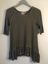Dantelle Distressed Oil Dye Ruffle Hem Olive Green Knit Tunic Top Size S NWT