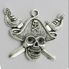 3pcs Retro Fashion Tibet silver Pirate Skull saber Head Necklace Charms Pendants