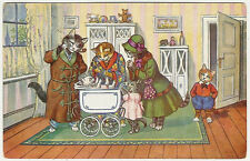 Cats, Cat Family and Newborn Cat Baby in teh House, Funny Old Postcard