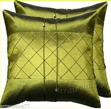 2 Thai Silk Decorative Cushion Pillow Cover SQ Green