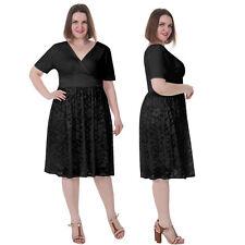 SALE! Lace Gorgeous Short Sleeve BBW Party Gowns Vintage Dress US SIZE S-5X Plus