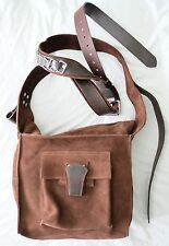 EUC DSQUARED2 Heavy Belted Strap Suede Leather Messenger Bag-possible alteration